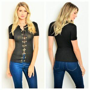 Small Black Lace Up Top